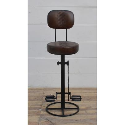 Leather Bar Stool with Bicycle Feet and Backrest