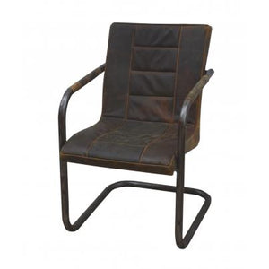 Ribbed Brushed Buffalo Leather Cantilever Chair