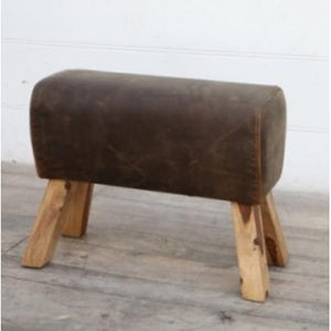 Brushed Buffalo Leather Pommel Stool - Medium