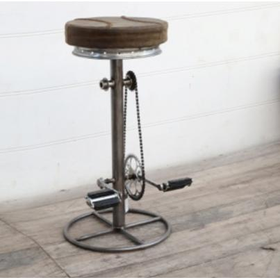 Brown Leather Padded Bicycle Stool