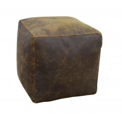 Square Brushed Buffalo Leather Pouffe
