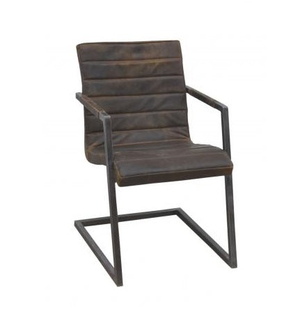 Ribbed Brushed Buffalo Leather Chair with Cantilever Frame