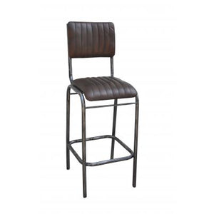 Brown Leather Bar Stool with Backrest