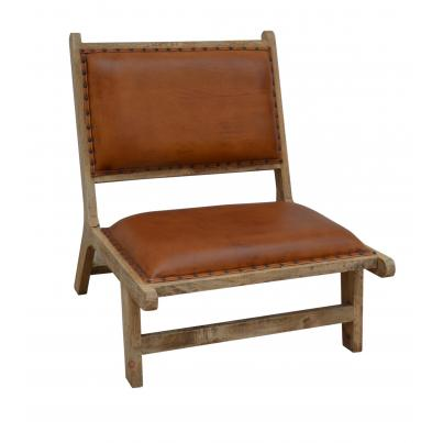 Brushed Buffalo Leather and Wood Occasional Chair