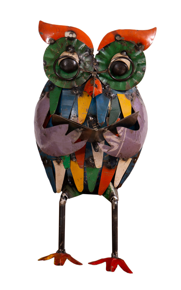 Recycled Iron Owl with Book