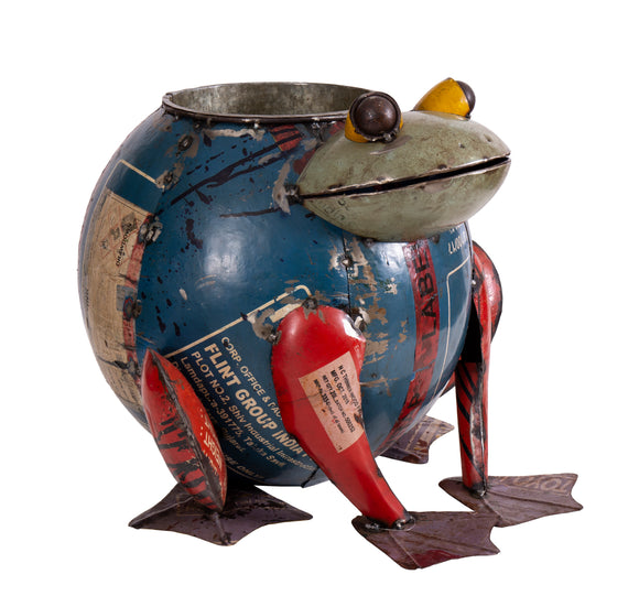 Recycled Iron Frog Planter