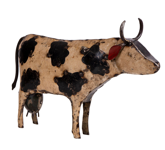 Recycled Iron Cow White