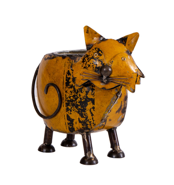 Recycled Iron Cat Planter