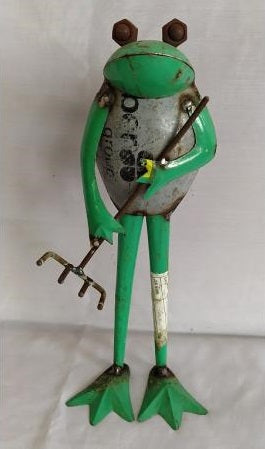 Recycled Iron Frog with Rake