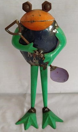 Recycled Iron Frog with Spade