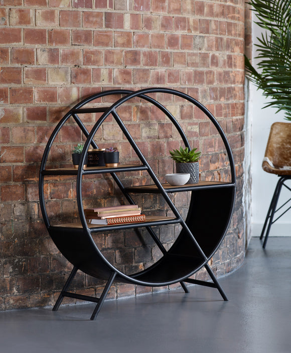 Cosmo Industrial Round Open Bookcase - Kate Newington Interiors