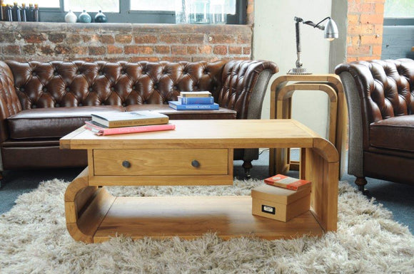 Oxford Lounge Oak Coffee Table with Drawer
