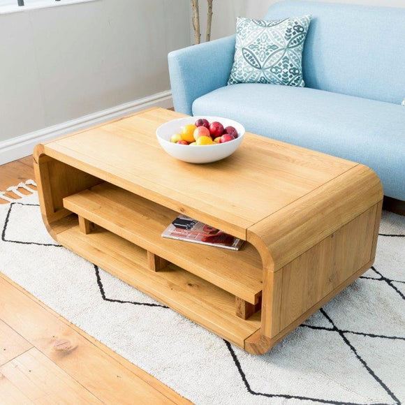 Oxford Lounge Oak Coffee Table with Shelf (Small)