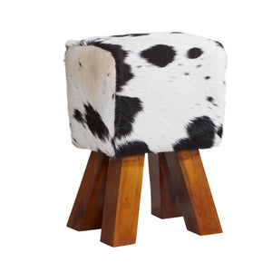Cowhide Stool Black and White