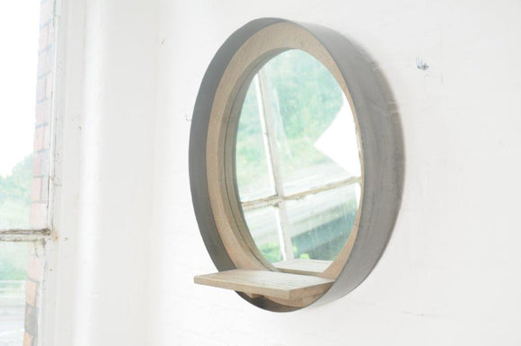 London Lounge Round Mirror with Shelf