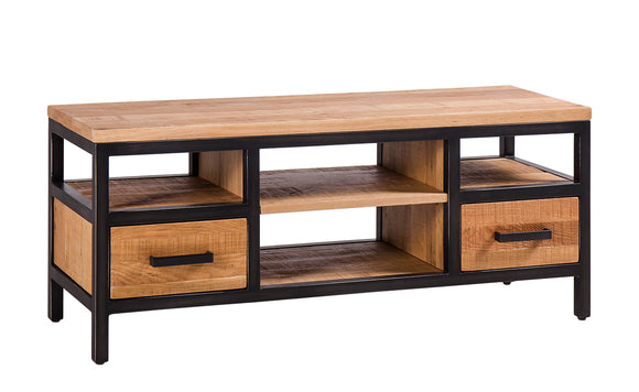 Forged Iron and Oak Medium TV Unit