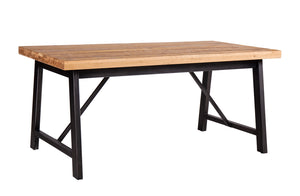 Forged Iron and Oak Dining Table