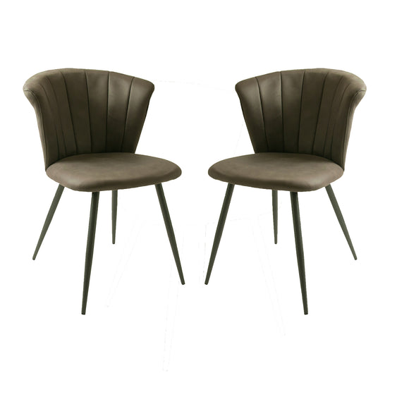 Set of 2 Selfridge Dining Chairs in Mussel Moleskin