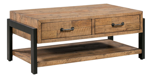 Urban Loft Coffee Table with 2 Drawers & Shelf