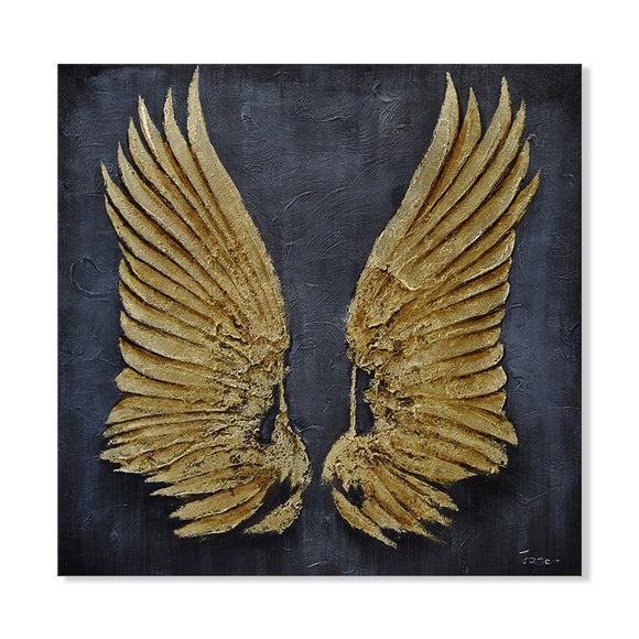 Hand Painted Decorative Wings High Texture Canvas with Gold Leaf