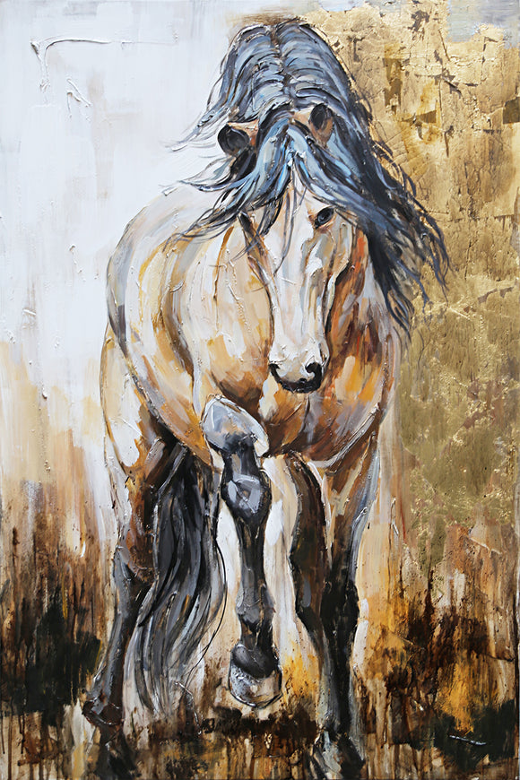 Hand Painted Horse Portrait Canvas with Gold Leaf