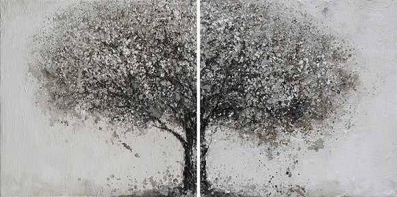 Hand Painted Grey Tree Diptych High Texture Canvas Pair with Silver Leaf