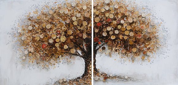 Hand Painted Autumnal Tree Diptych High Texture Canvas Pair with Gold Leaf