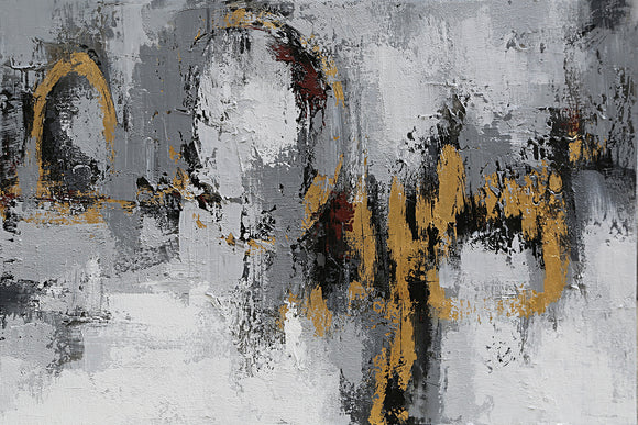 Hand Painted Contemporary Grey and Gold Abstract Canvas with Gold Leaf