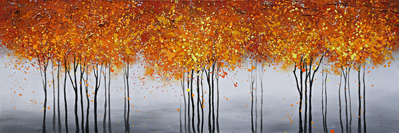 Hand Painted Autumnal Tree Scape Canvas with Gold Leaf