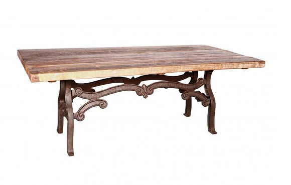 Ornate Cast Iron Dining Table With 210cm Wood Top