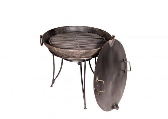 Iron Firebowl with Grill Stand and Lid 70-90cm