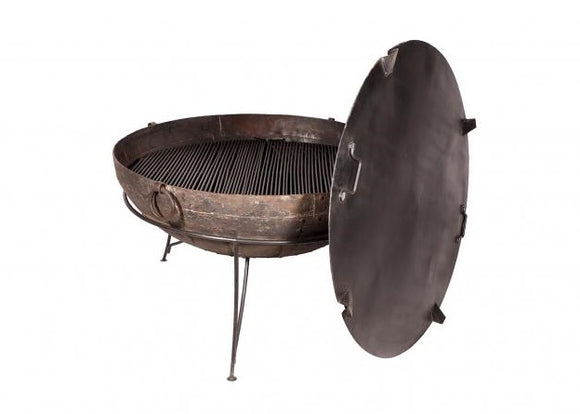 Iron Firebowl with Grill Stand and Lid 100-130cm