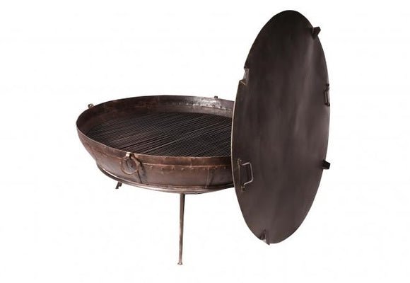 Iron Firebowl with Grill Stand and Lid 140-170cm