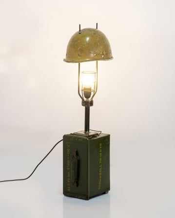 Upcycled Helmet & Ammo Tin Table Light
