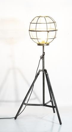 Upcycled Tripod Floor Lamp with Globe Cage Shade