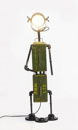 Upcycled Ammo Tin Robot Floor Lamp