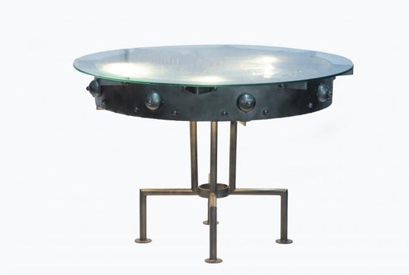 Glass Topped Industrial Light Dining Table