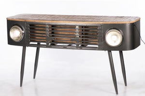 Reclaimed Truck Front Console Table with Tapered Legs