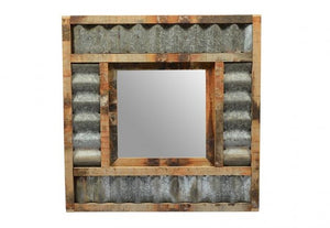 Iron Corrugated Sheet Mirror with Old Teak Wooden Frames