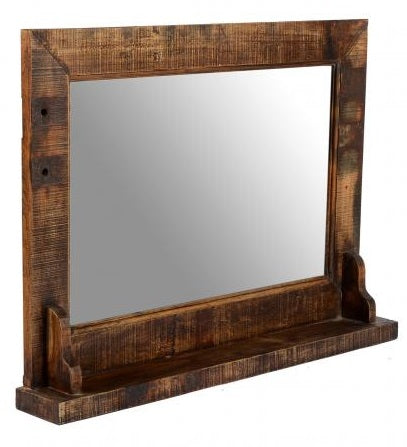 Old Teak Wooden Mirror with Base