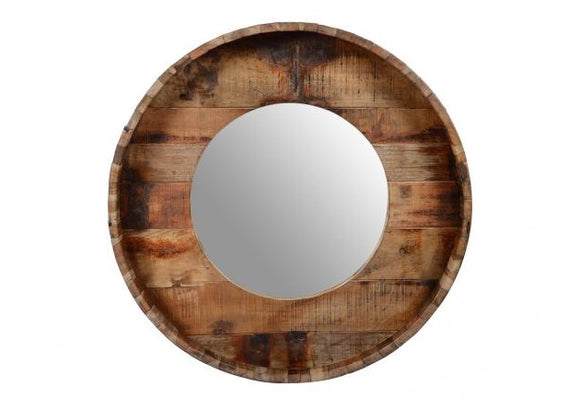 Old Teak Wooden Round Mirror