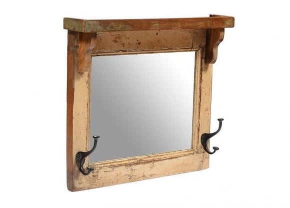 Old Window Mirror with Hooks