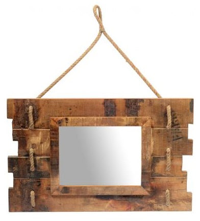 Old Teak Wooden Mirror with Rope
