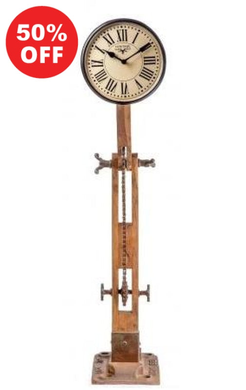Teak Wooden Iron Lamp Style Clock Clocks