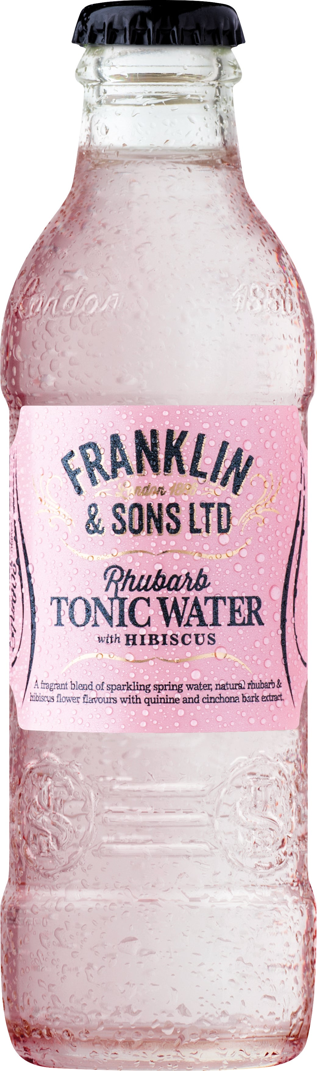 Franklin & Sons Rhubarb Tonic Water with Hibiscus (24 x 200ml bottles)