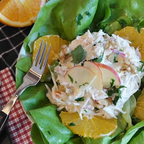 Because the mayonnaise contains whey and has been allowed to sit at room temperature, it will be good in the fridge for several months. What's more, it adds valuable nutrients and enzymes such as lipase to any recipe you use it in. Also, by adding this extra good bacteria to your Waldorf type salads you extend the shelf life to up to 5 weeks.