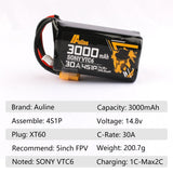 ⚡️Buy Auline 3000MAH  Sony VTC6 18650 14.8V 30A XT60 Plug Li-ion Battery - www.kingquad.shop
