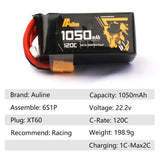 ⚡️Buy Auline 6S 1050mah 22.2v 120C XT60 for 5in FPV Racing and Freestyle - www.kingquad.shop