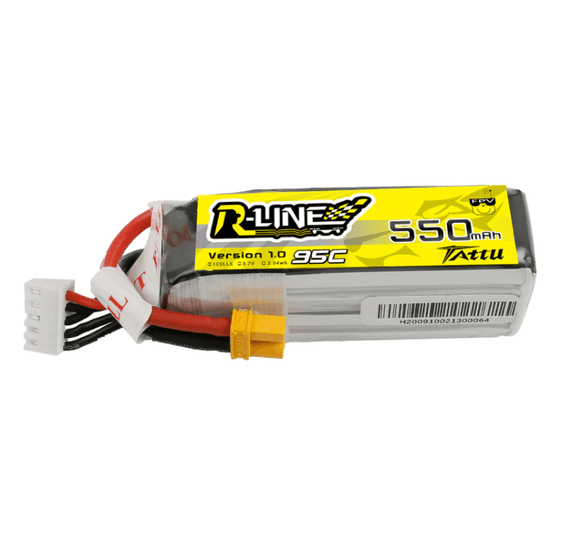 Tattu R-Line 550mAh 14.8V 95C 4S1P Lipo Battery Pack With XT30 Plug