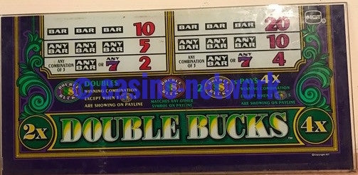 IGT  S-2000 Double Bucks 2 Credit Belly Glass